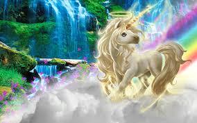 Unicorn walking on clouds